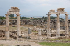 Ruins of temple in hierapolis Stock Image