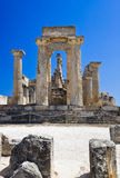Ruins of temple on island Aegina, Greece. Archaeology background Royalty Free Stock Image