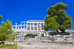 Ruins of temple on island Aegina, Greece Royalty Free Stock Photo