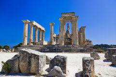 Ruins of temple on island Aegina, Greece. Archaeology background Royalty Free Stock Photography