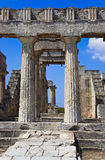 Ruins of temple on island Aegina, Greece. Archaeology background Stock Image