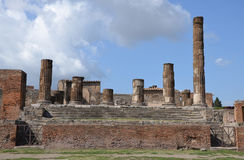 The ruins of the temple of Jupiter in Pompeii Stock Photos