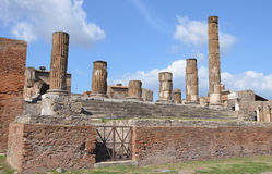 The ruins of the temple of Jupiter in Pompeii Royalty Free Stock Images