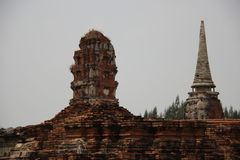 Buddhist Temple  And Old Stupas With Bricks Walls royalty free stock photos