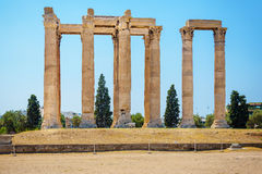 Ruins of Temple of Olympian Zeus in Athens Stock Photos