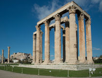 Ruins of the Temple of Olympian Zeus in Athens royalty free stock images