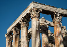 Ruins at the Temple of Olympian Zeus in Athens stock images