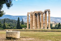 Temple of Olympian Zeus in Athens, Greece. Ruins of Temple of Olympian Zeus in Athens, Greece. The ancient Greek Temple of Zeus or Olympieion is one of the main Royalty Free Stock Images