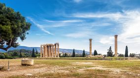 Temple of Olympian Zeus in Athens, Greece. Ruins of Temple of Olympian Zeus in Athens, Greece. The ancient Greek Temple of Zeus or Olympieion is one of the main Royalty Free Stock Image