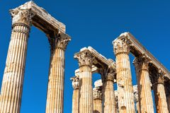 Ruins of Temple of Olympian Zeus in Athens, Greece. The ancient Greek Temple of Zeus or Olympieion is one of the main landmarks of Athens. Corinthian columns Royalty Free Stock Image