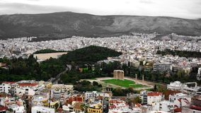 Ruins of the temple of Olympian Zeus in Athens, Greece stock photography
