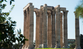 Ruins of the Temple of Olympian Zeus in Athens stock photography