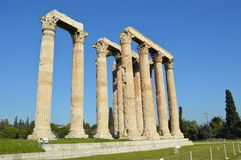 Ruins of Temple of the Olympian Zeus at Athens. Temple of the Olympian Zeus at Athens and park Royalty Free Stock Images