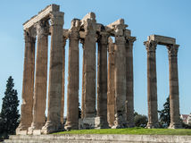 Ruins at the Temple of Olympian Zeus. Large columns at the Temple of Olympian Zeus in Athens Greece Stock Images