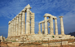 Ruins of Temple of Poseidon in Greece. Ruins of ancient Greek Temple of Poseidon, god of the sea in ancient mythology. It is located at Cape Sounion, near Athens Stock Image