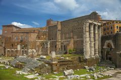 Ruins of a temple in Rome royalty free stock image