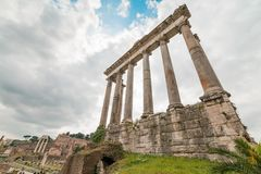Ruins of the Temple of Saturn, Rome, Italy Stock Photos