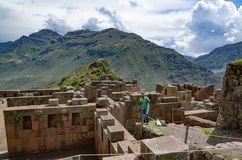 Ruins of the Temple of the Sun at Pisac in the Sacred Valley stock image