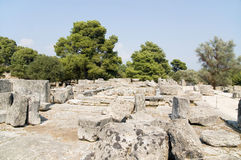 Ruins of the temple of Zeus in Olympia Royalty Free Stock Image