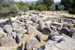 Ruins of the temple of Zeus in Olympia Royalty Free Stock Photography