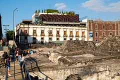 The ruins of the Templo Mayor, a major aztec temple in Mexico City. The ruins of the Templo Mayor, one of the main temples of the Aztecs in their capital of Royalty Free Stock Images