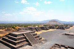 Ruins of Teotihuacan City, Mexico. View of the Avenue of the Dead and the Pyramid of the Sun, from the Pyramid of the Moon. Teotihuacan, Mexico Royalty Free Stock Photography