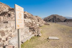 Ruins of Teotihuacan and  Pyramid of the Sun in Teotihuacan Royalty Free Stock Image