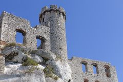 Ruins of 14th century medieval castle, Ogrodzieniec Castle, Poland. Ruins of  medieval castle, Ogrodzieniec Castle, Podzamcze, Poland. The castle is situated on Royalty Free Stock Photography
