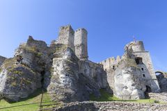 Ruins of 14th century medieval castle, Ogrodzieniec Castle,Trail of the Eagles Nests, Podzamcze, Poland Stock Photography