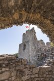 Ruins of 14th century medieval castle, Ogrodzieniec Castle,Trail of the Eagles Nests, Podzamcze, Poland. Ruins of  medieval castle, Ogrodzieniec Castle Royalty Free Stock Photo