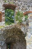 Ruins of 15th century medieval castle, Tenczyn Castle, Rudno, Poland. RUDNO, POLAND - JULY 21, 2018: Ruins of 15th century medieval castle, Tenczyn Castle stock photography