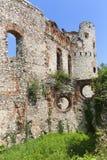 Ruins of 15th century medieval castle, Tenczyn Castle, Rudno, Poland. RUDNO, POLAND - JULY 21, 2018: Ruins of 15th century medieval castle, Tenczyn Castle royalty free stock photos