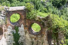Ruins of 15th century medieval castle, Tenczyn Castle, Polish Jura, Rudno. RUDNO, POLAND - JULY 21, 2018: Ruins of 15th century medieval castle, Tenczyn Castle stock photos