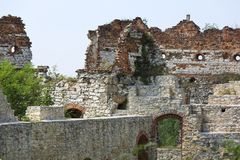 Ruins of 15th century medieval castle, Tenczyn Castle, Rudno, Poland. RUDNO, POLAND - JULY 21, 2018: Ruins of 15th century medieval castle, Tenczyn Castle royalty free stock photography