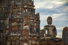 Ruins of the Thai Buddhist temple royalty free stock photography