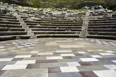 Ruins of theater in ancient city of Messinia, Peloponnese, Greece Royalty Free Stock Photos
