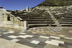 Ruins of theater in ancient city of Messinia, Peloponnese, Greece Royalty Free Stock Image
