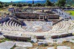 Ruins of theater in ancient Messina, Greece. Ruins of theater in ancient city of Messina, Peloponnes, Greece royalty free stock image