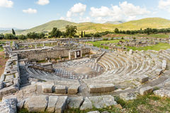 Ruins of theater in Ancient Messinia, Greece. Ruins of theater in Ancient city of Messinia, Peloponnes, Messenia, Greece Stock Image