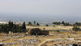 Ruins of theater in ancient town Hierapolis Turkey Stock Photos