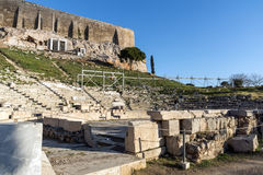 Ruins of the Theatre of Dionysus in Acropolis of Athens, Greece Stock Image