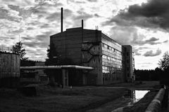 Ruins of the thrown Soviet factory Royalty Free Stock Photo