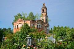 Ruins of the thrown Vozdvizhensky church at the old cemetery. Village of Shashkovo. Yaroslavl region Stock Photo