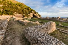Ruins of Tiberius villa in Sperlonga, Lazio, Italy Royalty Free Stock Photo