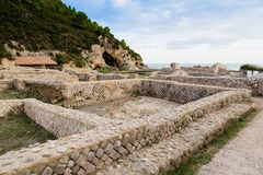 Ruins of Tiberius villa in Sperlonga, Lazio, Italy Royalty Free Stock Images