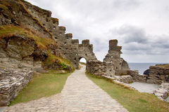 Ruins of Tintagel castle in North Cornwall coast, England Royalty Free Stock Photo