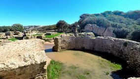 Ruins of Tipasa(Tipaza).The antic city was a colonia in Roman province Mauretania Caesariensis loca stock footage