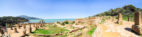 Ruins of Tipasa(Tipaza).The antic city was a colonia in Roman province Mauretania Caesariensis loca Royalty Free Stock Photos