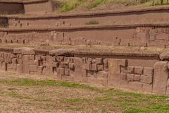 Ruins of Tiwanaku, Bolivia. Tiwanaku is an ancient city near the Lake Titicaca royalty free stock images