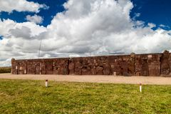 Ruins of Tiwanaku, Bolivia. Tiwanaku is an ancient city near the Lake Titicaca royalty free stock image